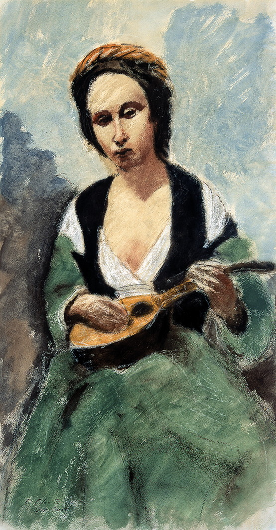 Woman with Mandolin after Corot